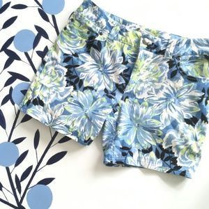 For the Republic Blue Floral Long Shorts
